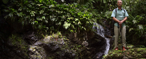 COSTA RICA- Roman Dial stands next to a small waterfall on a jungle trek. (Photo Credit: National Geographic Channels)